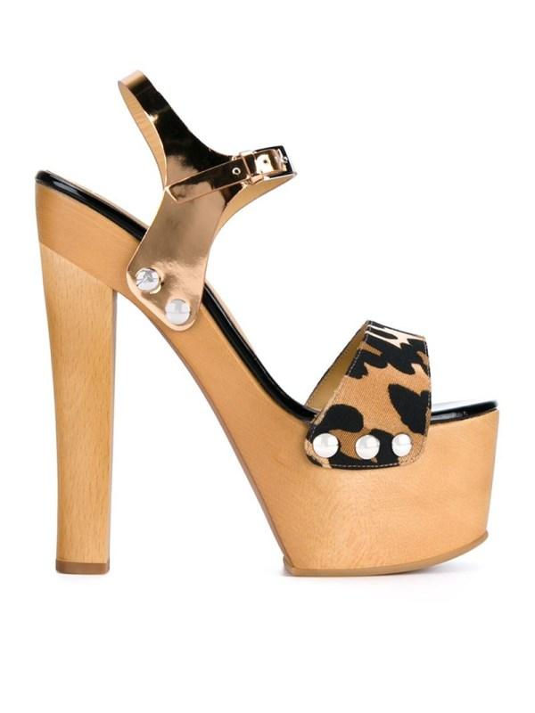 Giuseppe Zanotti Leopard Print Clog Sandals In Brown Lyst