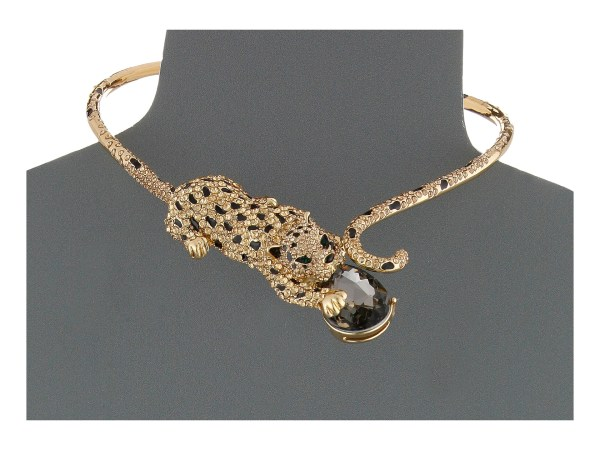Lyst - Betsey Johnson Critters Pave Leopard Collar