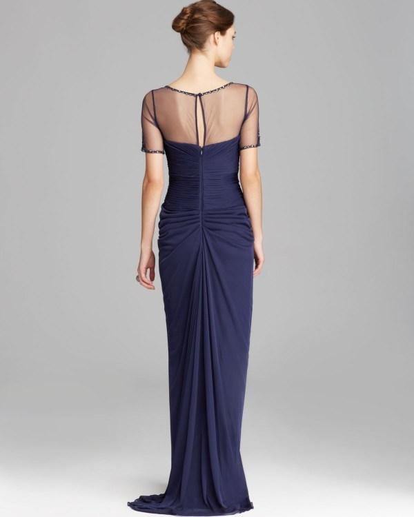 Adrianna Papell Gown Short Sleeve Illusion Neckline Drape
