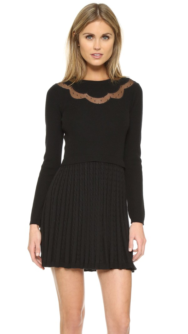 Red Valentino Sweater Dress With Pleated Skirt In Black Lyst