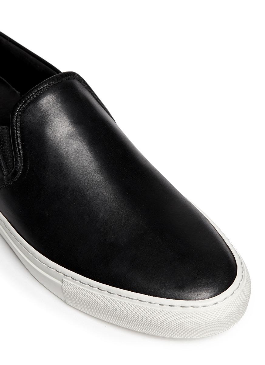 Mens Black Leather Slip Ons