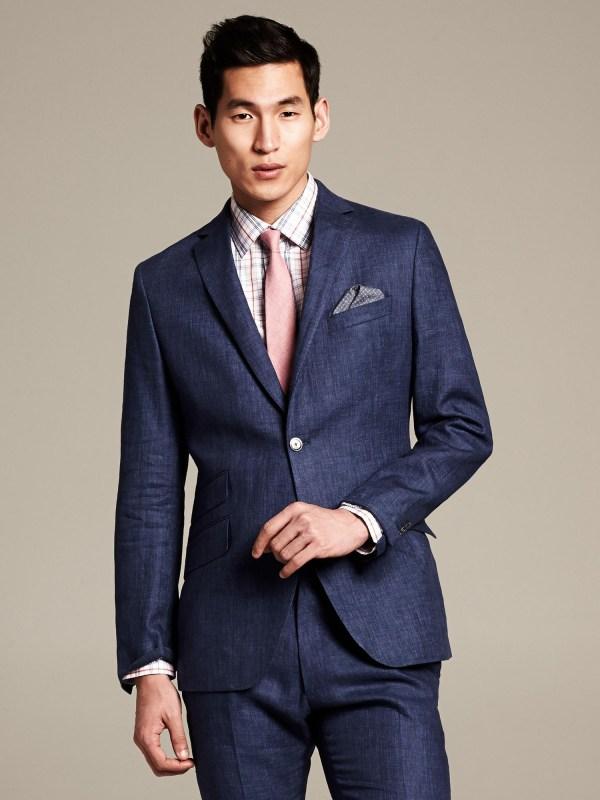 Lyst - Banana Republic Modern Slim Fit Navy Linen Suit