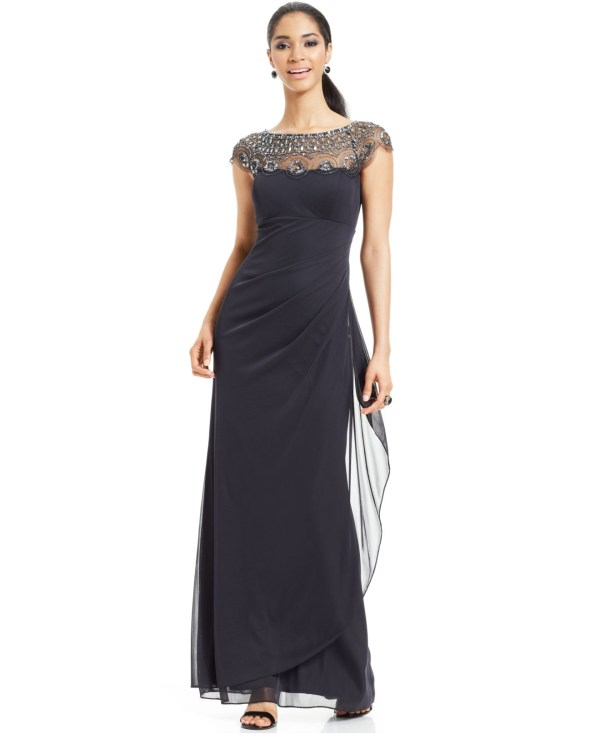 Lyst - Xscape Petite Cap-sleeve Illusion Beaded Gown In Gray