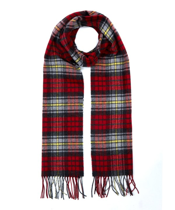 Johnstons Red Contemporary Tartan Cashmere Scarf In