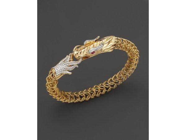 John Hardy Diamond Ruby & 18k Yellow Gold Medium Naga