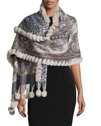 Gorski Reversible Cashmere Fur-trim Shawl in Gray | Lyst