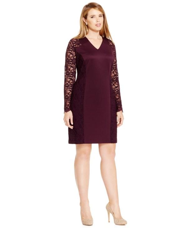 Lyst - Calvin Klein Size Lace-combo Sheath Dress In