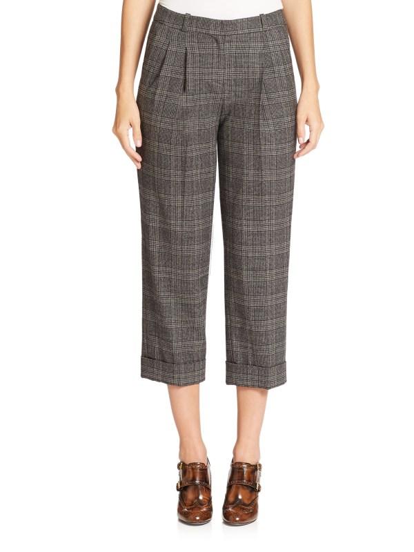 Lyst - Michael Kors Glenplaid Flannel Capri Pants In Gray