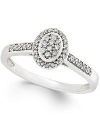 Macy's Diamond Oval Promise Ring (1/5 Ct. T.w.) In 10k ...