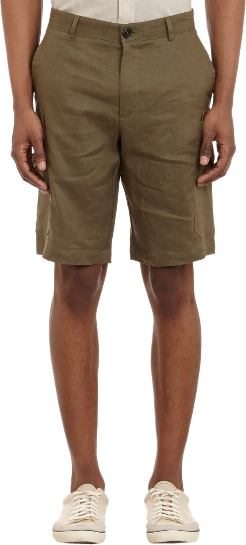 Michael Kors Linen Cargo Shorts In Green Men Olive