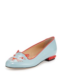 Charlotte olympia Kitty Studs Leather Flat in Blue | Lyst