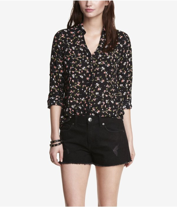 Lyst - Express Floral Print Convertible Sleeve Portofino Shirt In Black