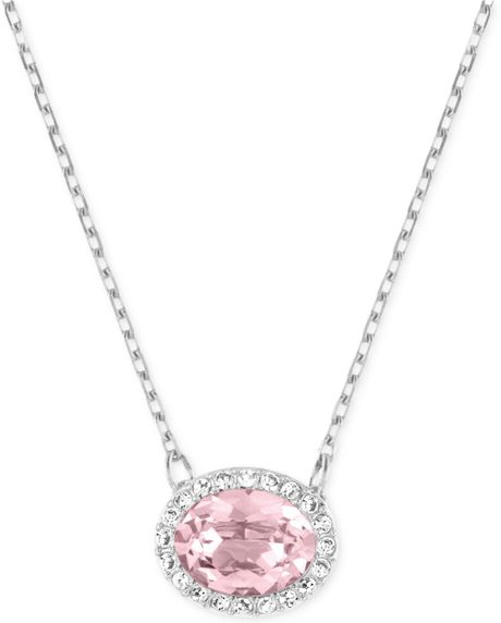 Swarovski Rhodium-plated Christie Oval Pendant Necklace in