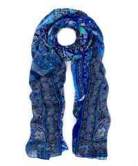 Lyst - Liberty Navy Sketchbook Silk Chiffon Scarf in Blue
