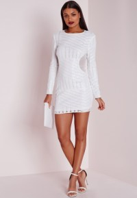 Missguided Long Sleeve Sequin Bodycon Dress White in White ...