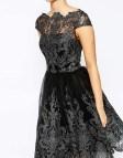 Midi Lace Prom Dress Metallic