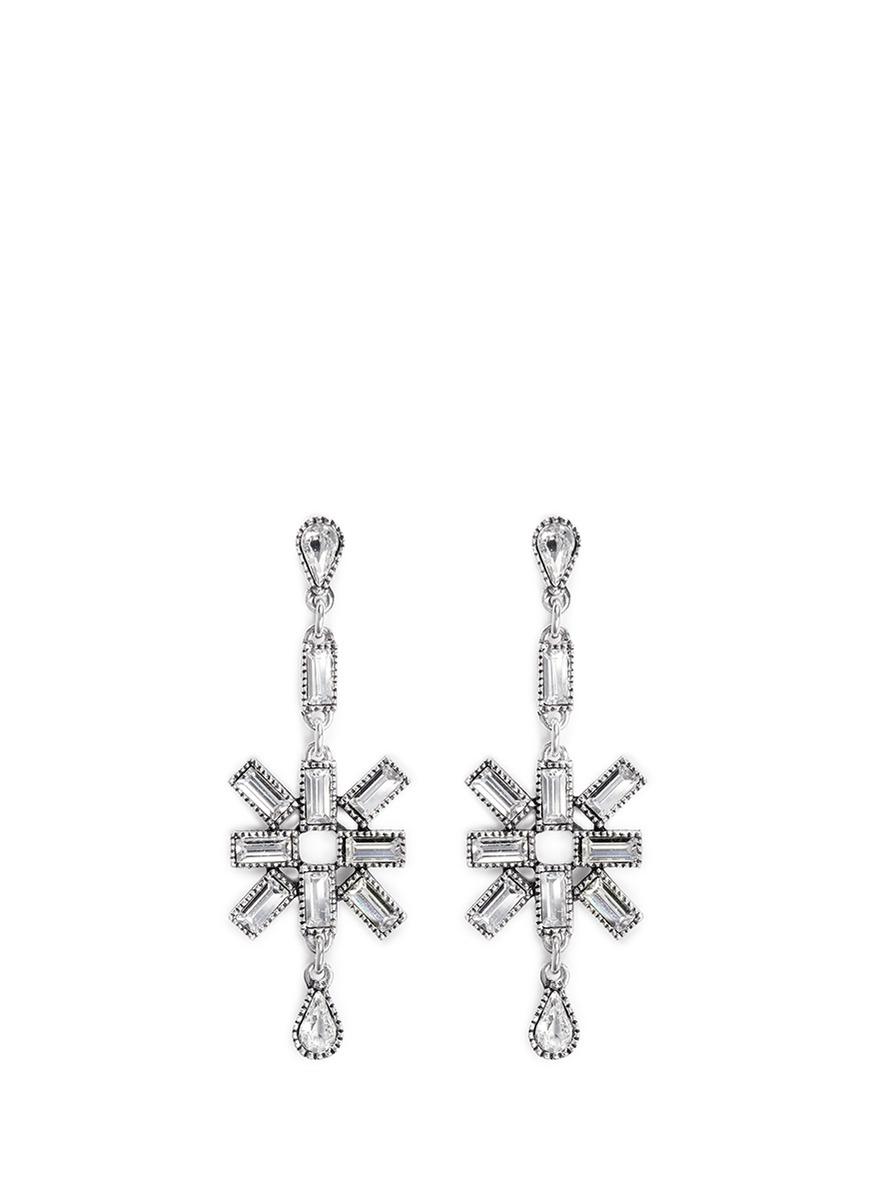 Philippe Audibert Star Strass Drop Earrings in Silver