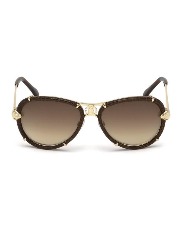 Roberto Cavalli Leather-wrapped Aviator Sunglasses In