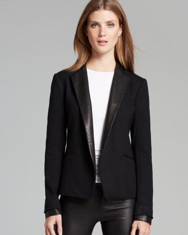 Lyst - Theory Blazer Leandria Classical Leather Trim In Black