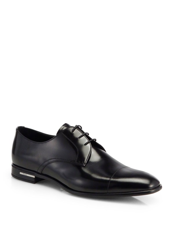 Lyst - Prada Spazzolato Leather Derby Shoes In Black Men