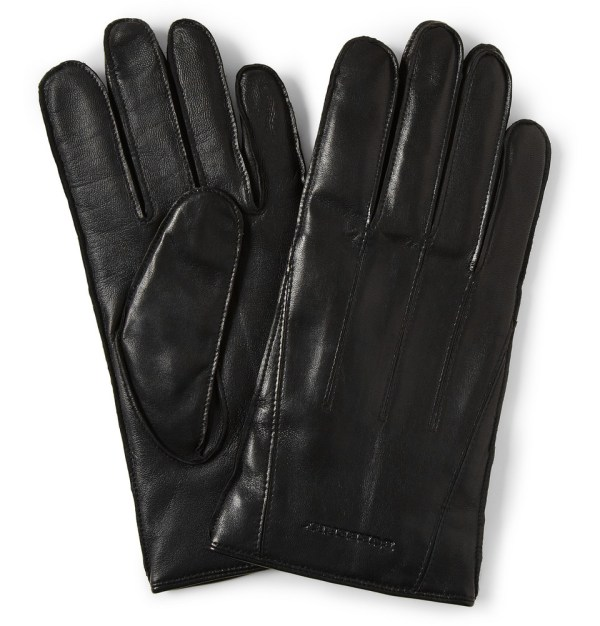 Burberry Touch Screen Cashmere Lined Leather Gloves In