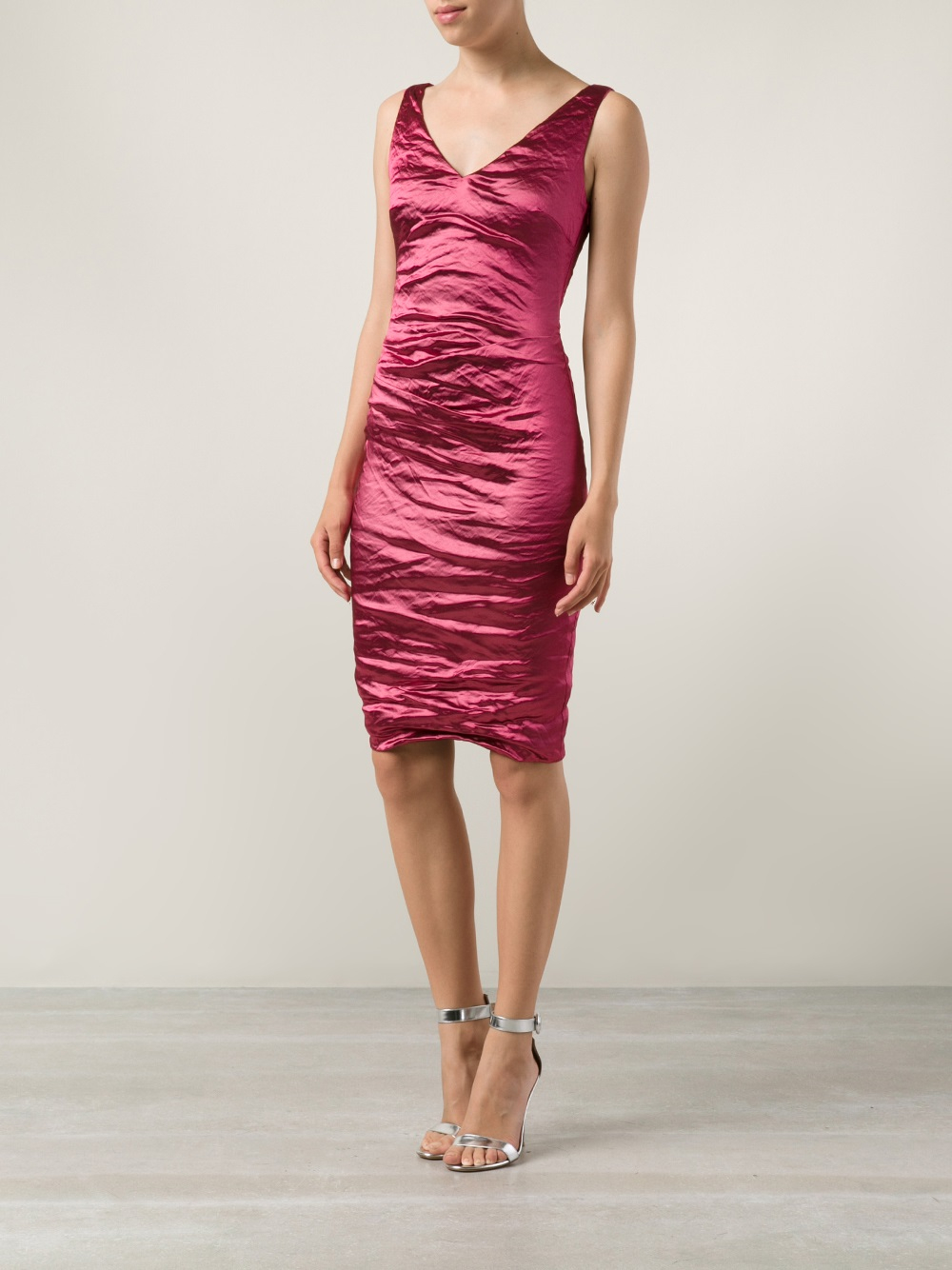 Lyst  Nicole miller Ruched Cocktail Dress in Pink