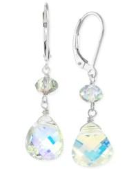 Macy's Swarovski Crystal Leverback Earrings In Sterling ...