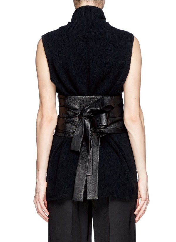 Row 'inton' Deerskin Leather Obi Belt In Black - Lyst
