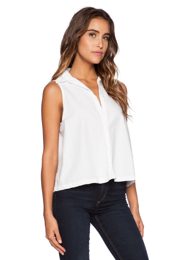 b605b70653b4 Michael Stars Sleeveless Button Crop Shirt In White Lyst