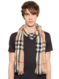 Burberry Wrinkled Classic Check Printed Scarf in Natural ...