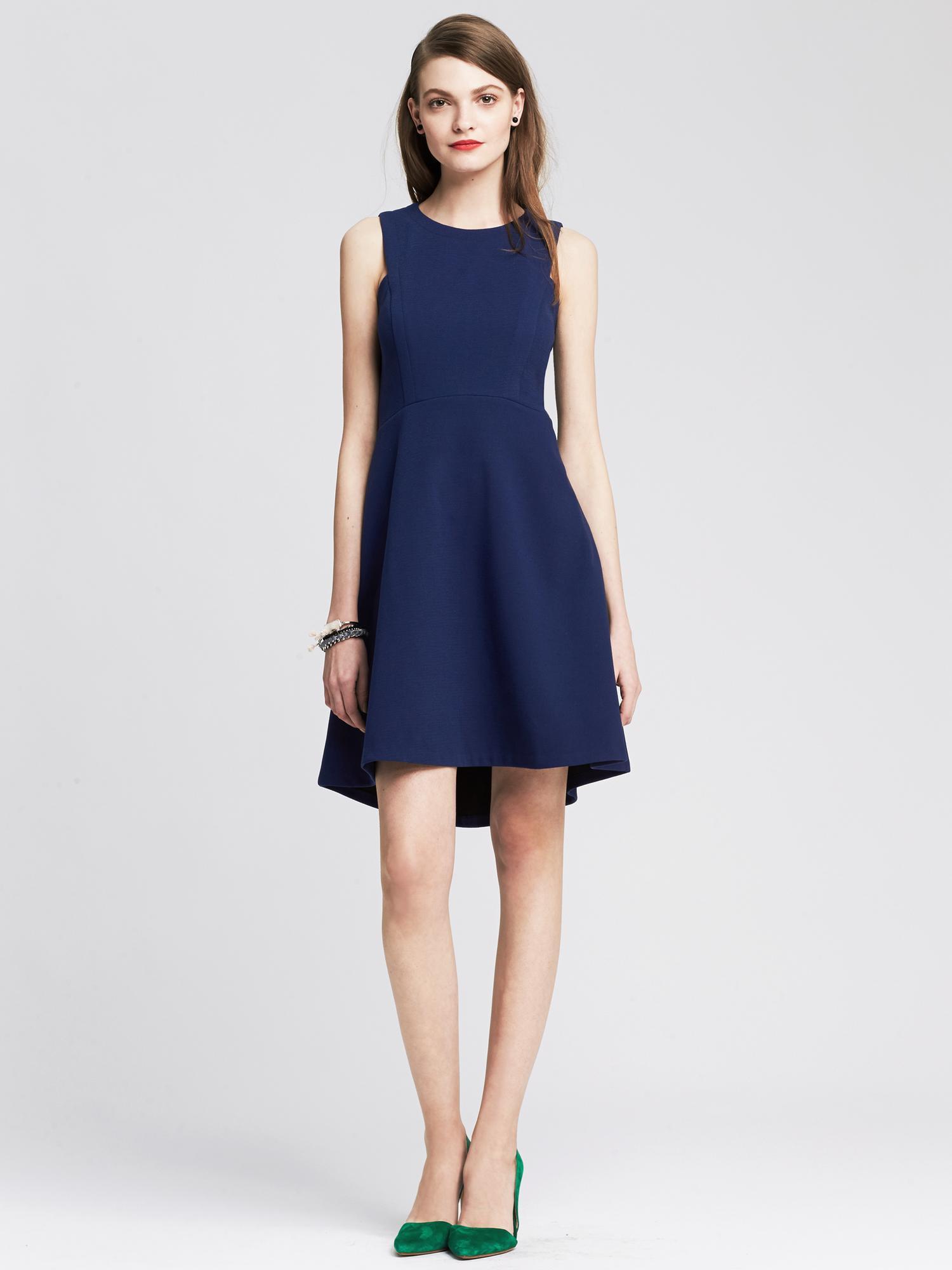 Banana republic Blue FitAndFlare Dress in Blue Basic blue  Lyst