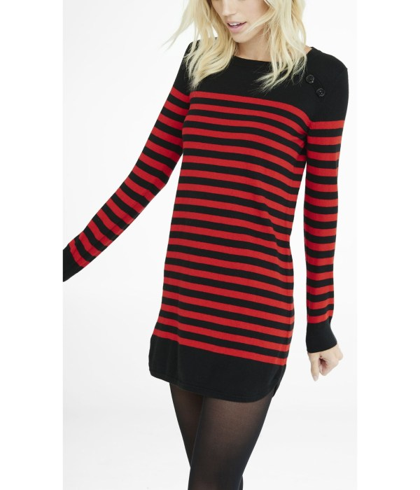 Lyst - Express Black And Red Striped Sweater Dress