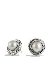 Lyst - David Yurman Pearl Crossover Earrings With Diamonds ...