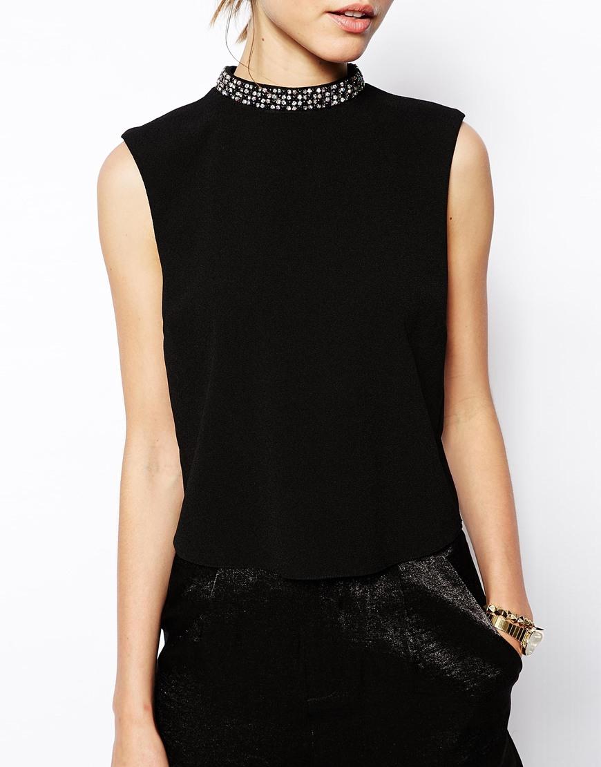 Asos High Neck Top With Embellished Neckline In Black Lyst
