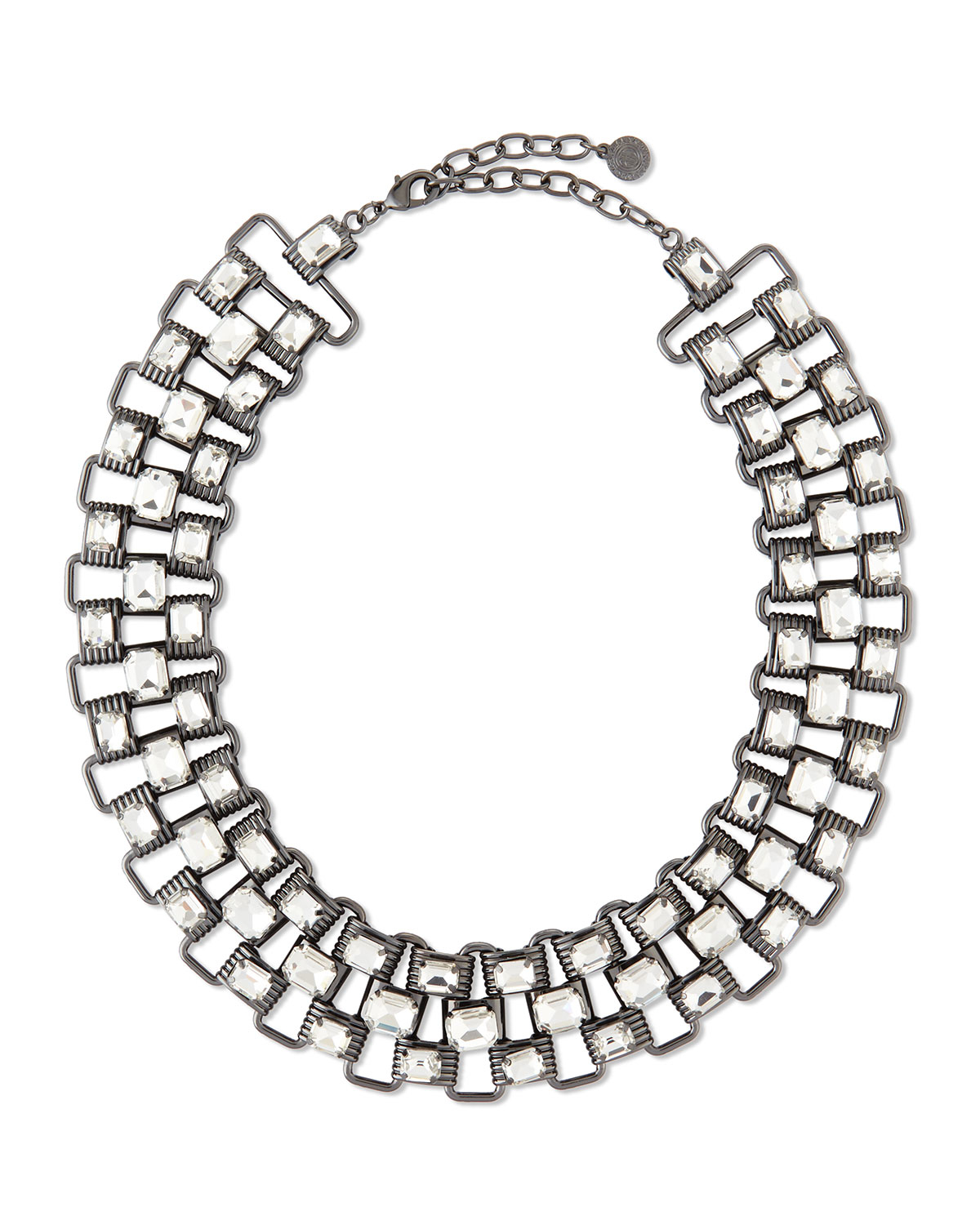 R.j. graziano Crystal & Chain Collar Necklace in Metallic