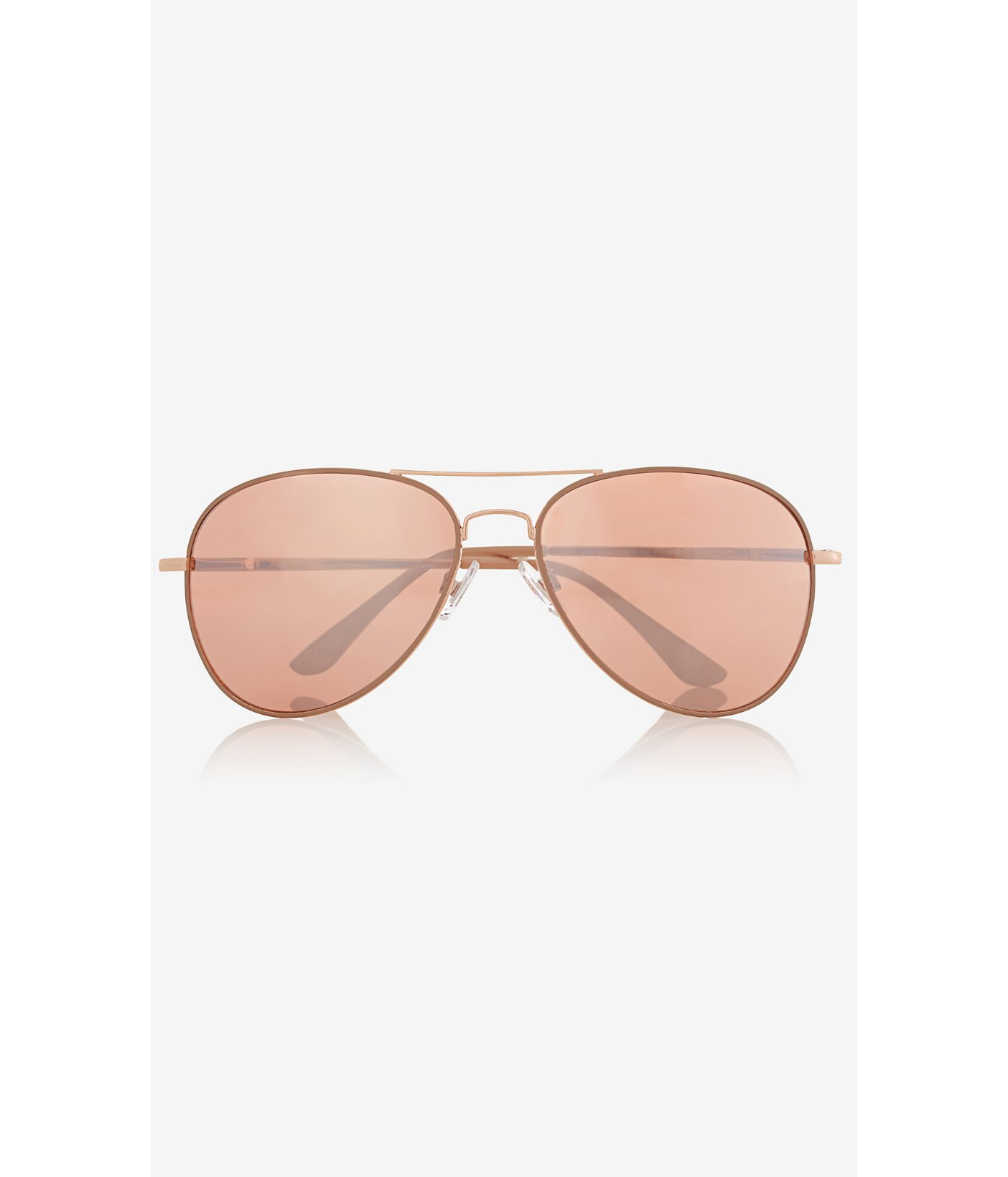 Express Mirrored Lens Aviator Sunglasses in Gold (ROSE