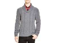 Mens gray shawl collar sweater