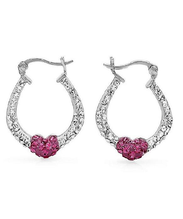 Amanda rose collection Sterling Silver Crystal Hoop