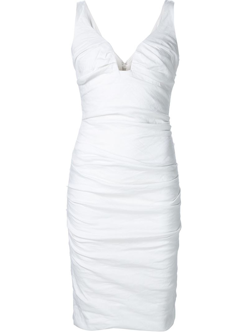 Lyst  Nicole Miller Fitted Ruched Dress in White