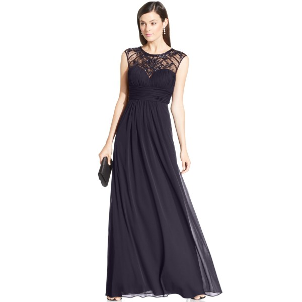 Xscape Petites Embellished Illusion Panel Gown In Gray