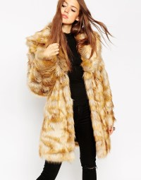 Asos Coat In Pelted Vintage Faux Fur & Shawl Collar in ...