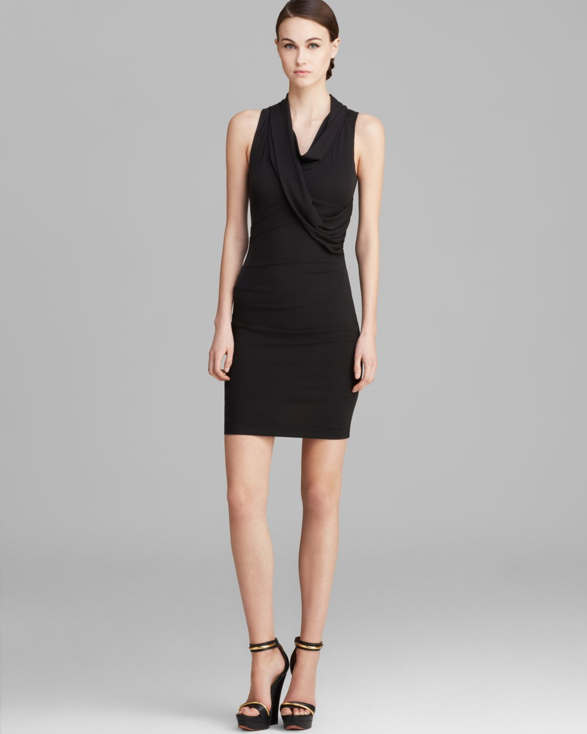 Nicole Miller Dress Sleeveless Cowlneck in Black  Lyst