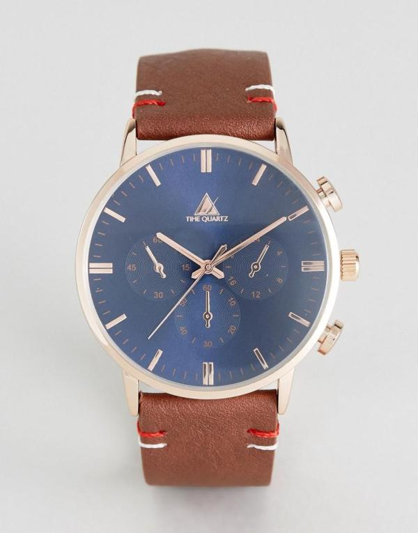 Asos Watch With Brown Faux Leather Strap And Navy Face In
