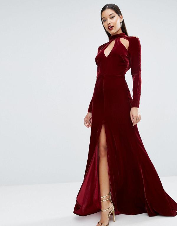 6fe1ac3baa9f Asos Red Carpet Velvet Keyhole Fishtail Maxi Dress In