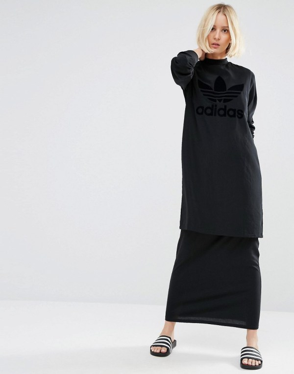 Adidas Originals Double Layer Maxi Dress With