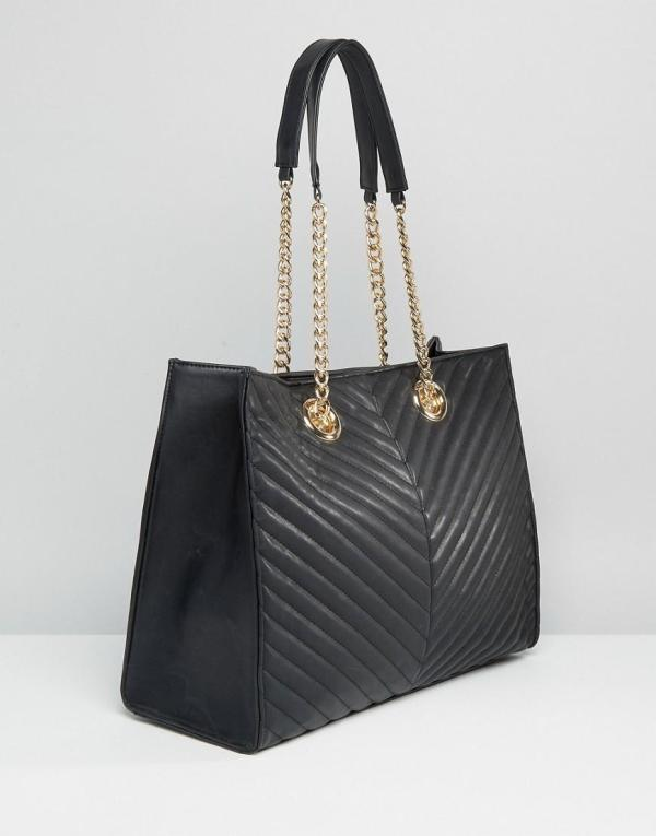 Asos Quilted Chevron Tote Bag With Chain Handle In Black