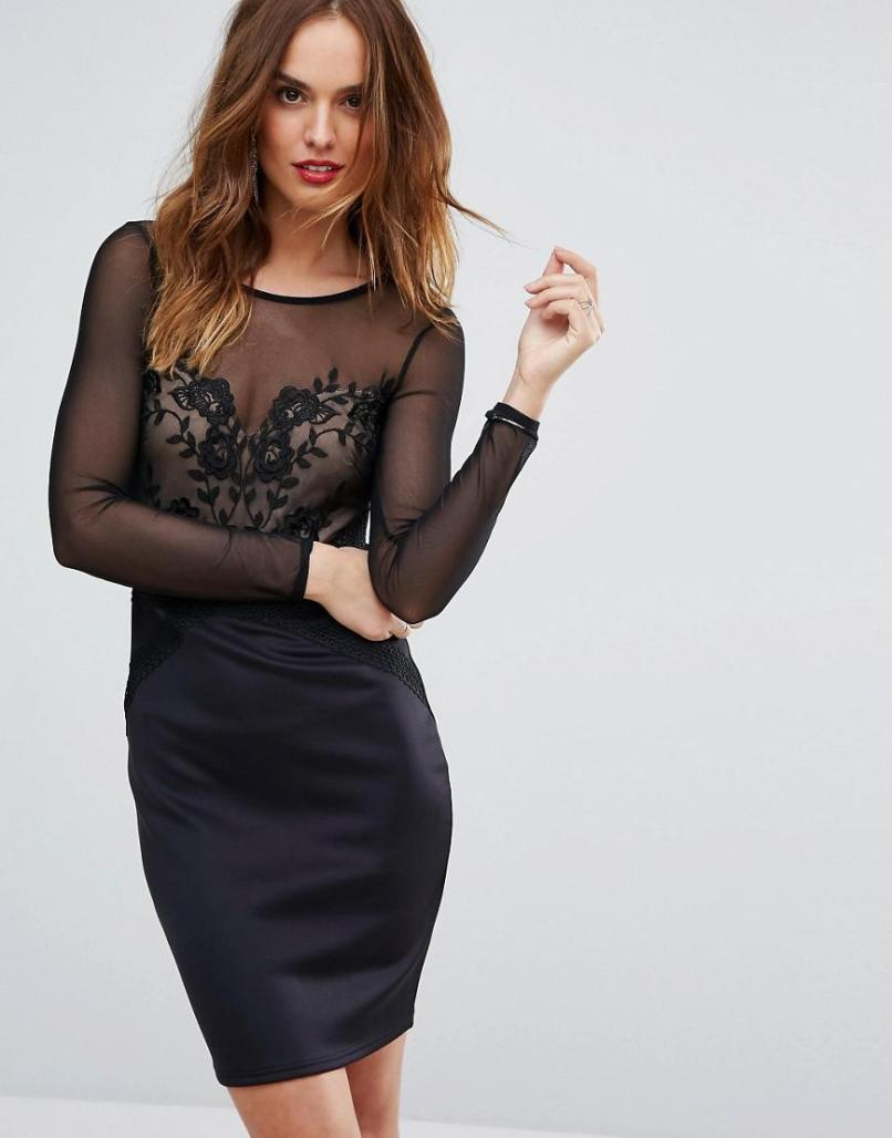 Lyst Lipsy Mesh Long Sleeve Embroidered Bodycon Dress In Black f10fbf478