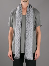 Lyst - Gucci Branded Mixed Print Scarf in Gray for Men