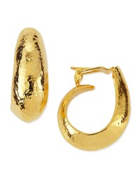 Jose & Maria Barrera Hammered Gold Plated Clipon Hoop ...