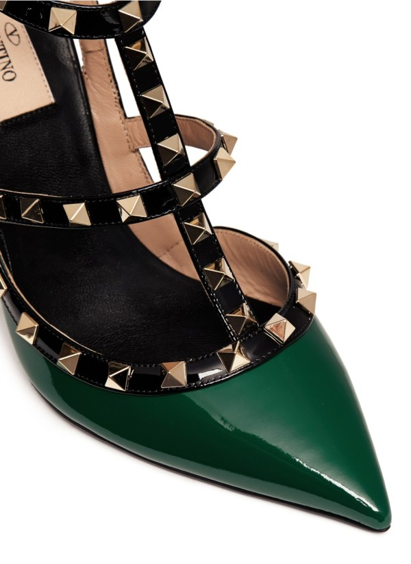 Valentino 'rockstud' Caged Patent Leather Pumps In Green